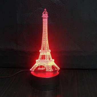 3D EIFFEL Tower สีสันกลางคืนห้องนอน LED 7 สีโต๊ะเอนกประสงค์โคมไฟตั้งโต๊ะ-