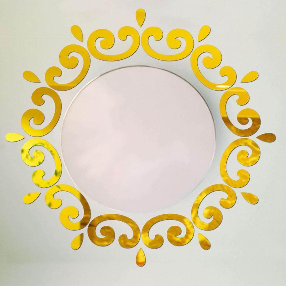 Aonor 3D Bulu Cermin Dinding Stiker Rumah Dekorasi Kamar Stiker Seni Mural DIY Hot GD