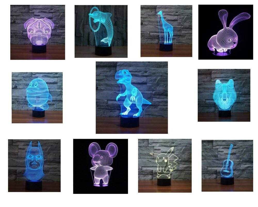 3D Illusion Bulbing LED Night Light 7 Color Change Touch Switch Table Desk Lamp