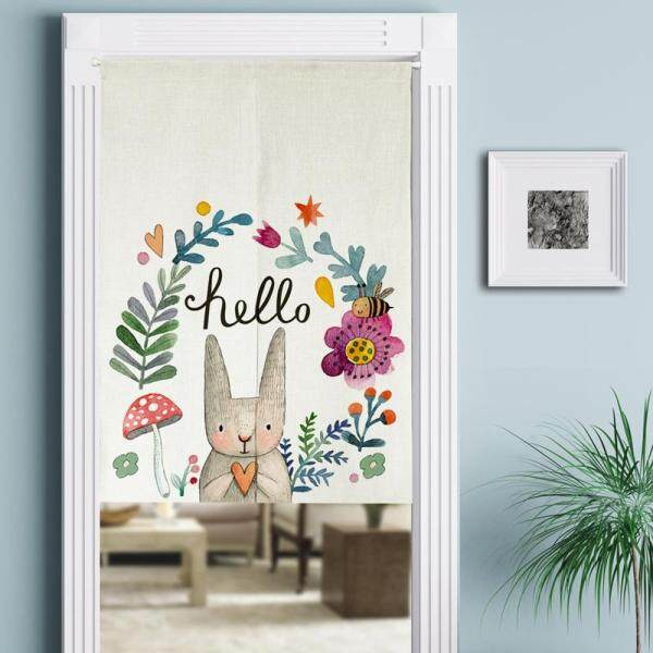 3D Plants Printed Cotton Linen Door Curtain Nordic Style Bedroom Hanging Room Dividers Curtains for Home Decorations 85*90cm