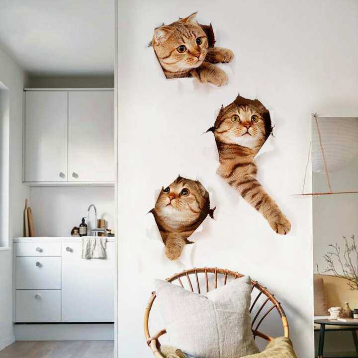3D Removable Stickers Lovely Cat Pattern Animal Wallpaper Decoration PVC Home Walll Stickers Mural Decal
