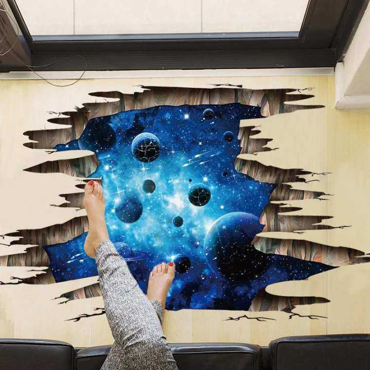 3D Removable Wall Stickers Blue Planets Wall Mural Decals for kids Living Room PVC House Wallpaper Art Decoration