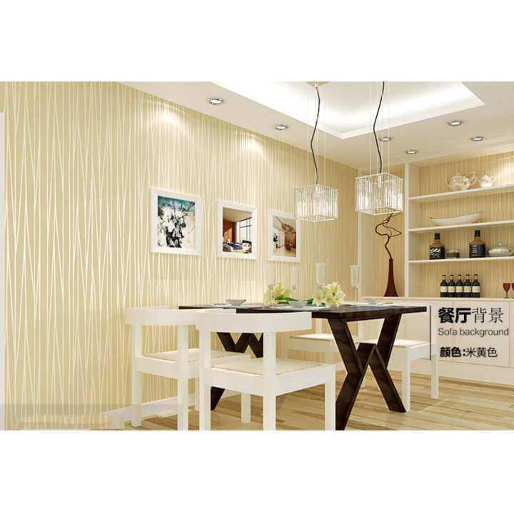 3D stripe nonwoven Wallpaper Plain color modern simple hotel bedroom TV background wall decor light yellow