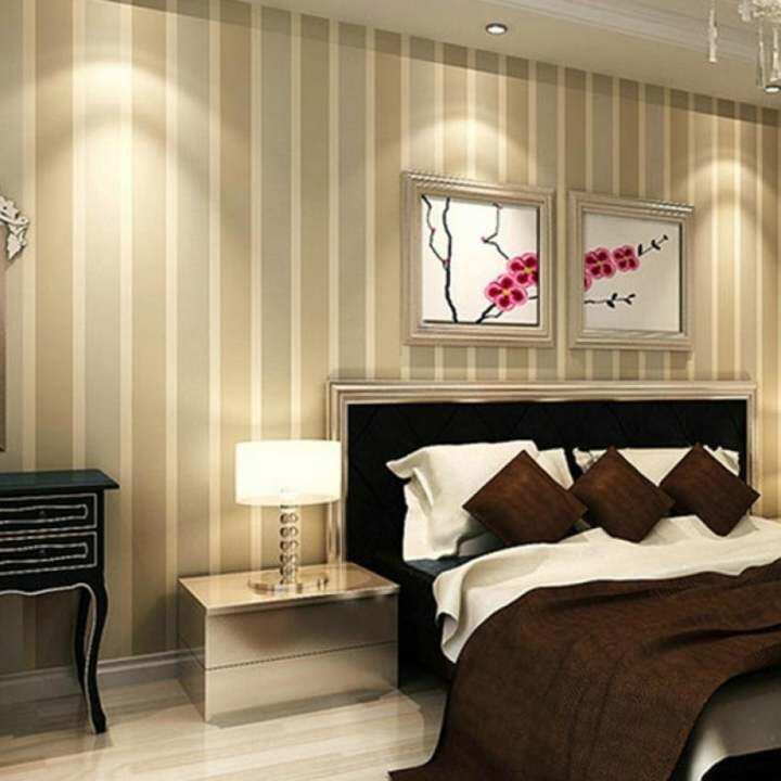 3D Stripe Wall Paper Non-woven Design Wallpaper for Living Room Bedroom 1000cm x 53cm ( Beige )