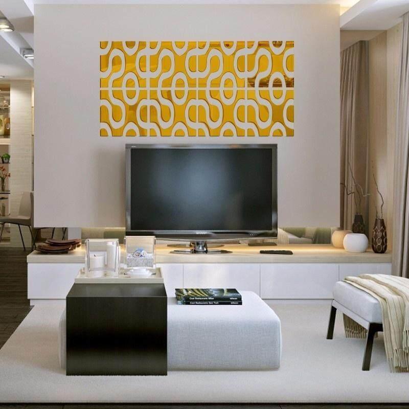 3D Wall Mirror DIY Acrylic Mirror Home Decor (2L+2R)/Set color:Gold size:30cm*120cm