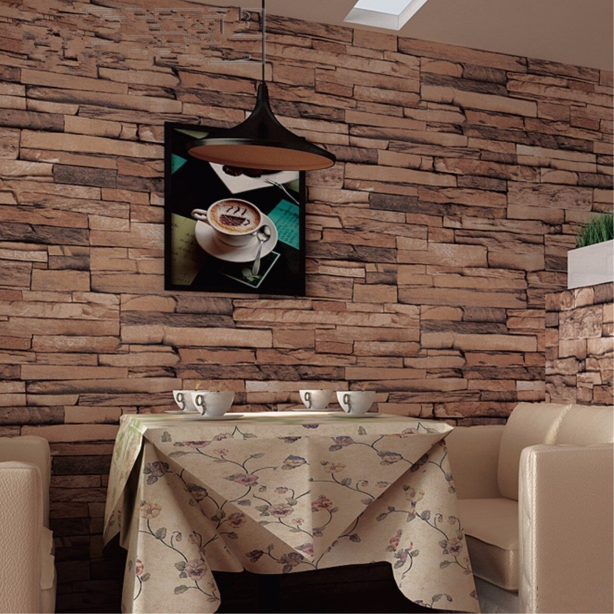 3D Wallpaper Bedroom Background Decor Slate Brick Stone Neutral Textured Art - intl