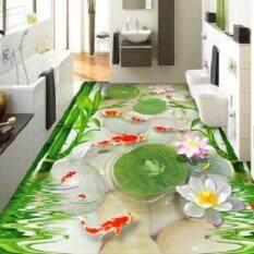 3D Wallpaper Custom 3D Kertas Dinding Lukisan Lantai Mural HD Ikan Mas Kerikil Katak 3D Lantai Bambu Daun Lotus Room Foto Wallpaer