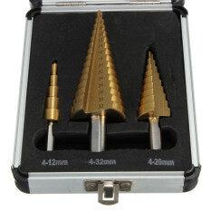 3pcs 4-12/4-20/4-32mm HSS High Speed Steel Step Drill Cutter Bit Round Shank New