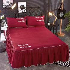 3pcs Bedding Sets Anti Slip Bed Skirts Bedspreads Mattress Protective Cover Washable Pillowcases Bed Sheet Linen Skirts Mattress Cover Bedding Home Textile (queen Size ) By Honey Xuan.