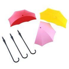 3PCS Colorful Umbrella Wall Hook Key Hair Pin Holder Organizer Decorative Hanger Red+Pink+Yellow