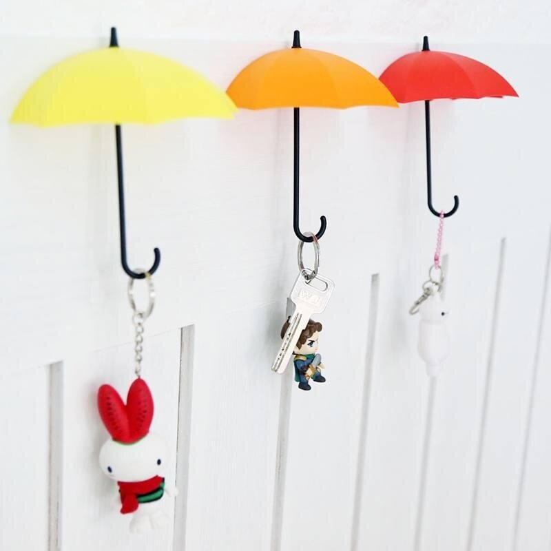 3Pcs Cute Umbrella Shape Sticky Holder Hanger Self Adhesive Wall Door Hook