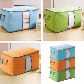 3Pcs Large Bamboo Charcoal Clothes Quilt Pillow Blanket Zip Foldable Storage Bag Box Organizers Container Box