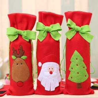 3 ชิ้น/ล็อตขวดไวน์ปกคลุมถุงคริสต์มาสอาหารเย็น Table Decoration หน้าแรกปาร์ตี้ซานตา Claus คริสต์มาสปาร์ตี้ - นานาชาติ