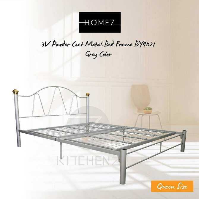 3V Powder Coat Metal Bed Frame BY9021 - Queen Size (Grey)
