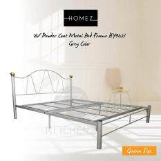 3v Powder Coat Metal Bed Frame By9021 Queen Size Grey