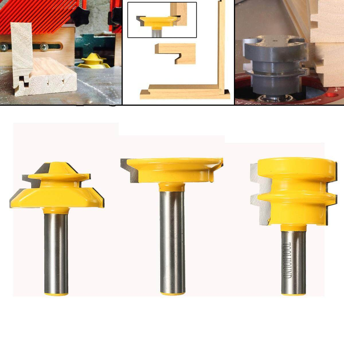 3x 1/2inch Shank Lock Miter Glue Joint Drawer Front Jointing Woodworking Router Bit - intl