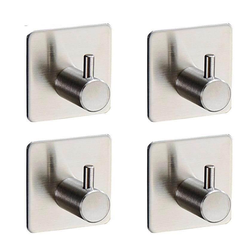 4-Pack Robe/Towel Hook 3M Self Adhesive SUS 304 Stainless Steel Brushed Nickel Bathroom Kitchen Organizer