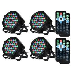 OS 4 Packed 36 LED Par Lights RGB Colorful 7 Lighting Modes Stage Lights Flexible Remote Control DMX Control Disco Lights US Plug