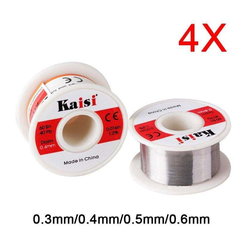 4 Pcs 0.3/0.4/0.5/0.6mm Tin Wire Soldering Wire Roll