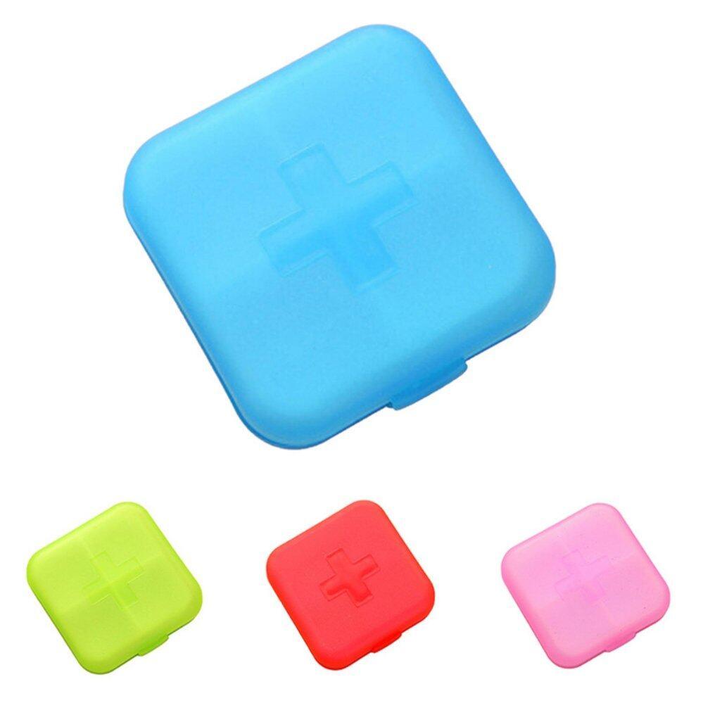 4 Slot Kotak Pil Terpisah Aksesori Kayu Tempat Tablet Organizer Dispenser Organizeritem Nama: Kotak Obat/Pil Case & Blue-Intl