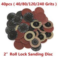 【Free Shipping】40Pcs 40/80/120/240 Grits 2  Roloc Type R Sanding Abrasive Disc w/ Mandrel Lock