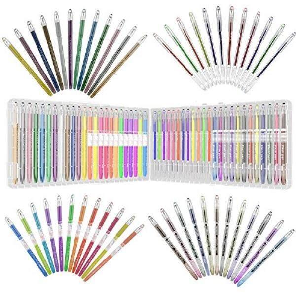 48 Farbig Gel Pens Gelstifte Set mit Etui Einzelfach-Ablage,Metallic, Pastell und Glitter für, Malerei und Zeichnung - intl