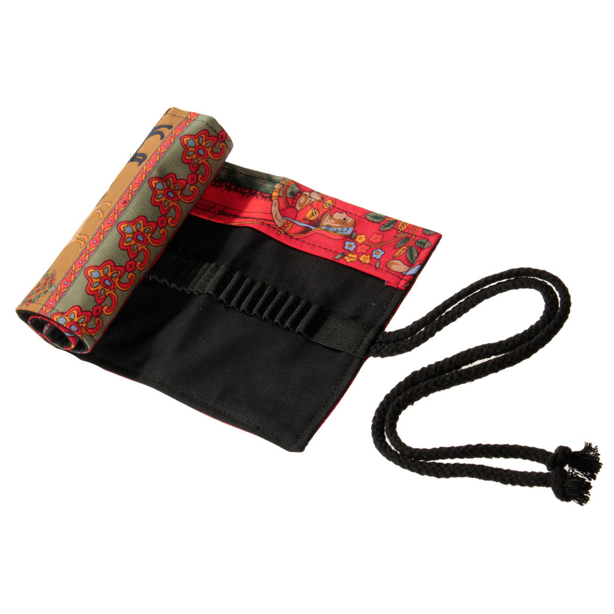 48 Hole Ethnic Canvas Pencil Wrap Pen Roll Case Bag Storage Makeup Pouch Artist random olor - intl
