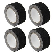 4pcs Black Safety Anti Slip  Tapes Self Adhesive Grip for Stairs Steps Floor Staircase Slippery Surface 5 x 500cm