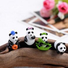 4pcs Miniature Dollhouse Pandas Fairy Garden Micro Landscape Decoration Décor Multi