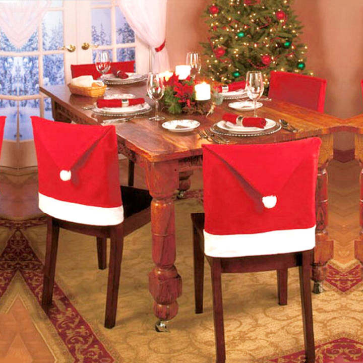 4pcs Santa Red Hat Chair Back Covers Red Hat Lovely Home Decor Christmas Decoration for Dining Room