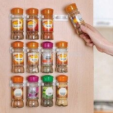 4pcs Spice Wall Rack Storage Plastic Kitchen Organizer 5 Hooks/gripper White By Fashionday.