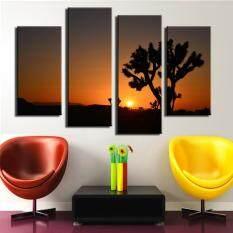 4 Pcs Matahari Terbenam Di Pohon Joshua Lukisan Dinding Cetak Pada Kanvas untuk Dekorasi Rumah Cat Gambar Dinding
