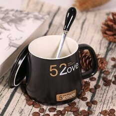 520 Creative BLACK&WHITE Couple's Cups Mug Lovers' Day Valentine's Day  Ceramic Glass with Lid Spoon Coffee Cup Send Boy's
