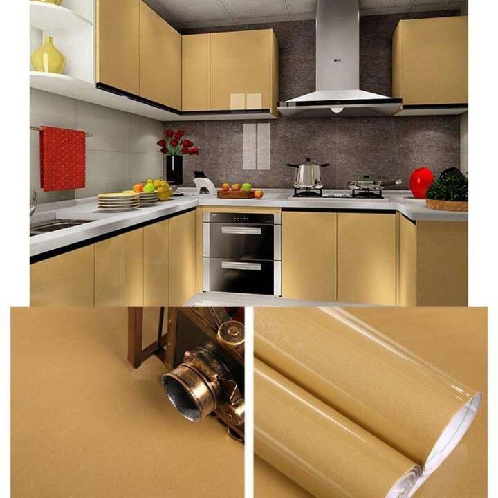5M Modern Kitchen Cupboard Cabinet Self adhesive Wallpaper Waterproof Vinyl Wall Papers Furniture Wall Stickers PVC DIY Decorative Films