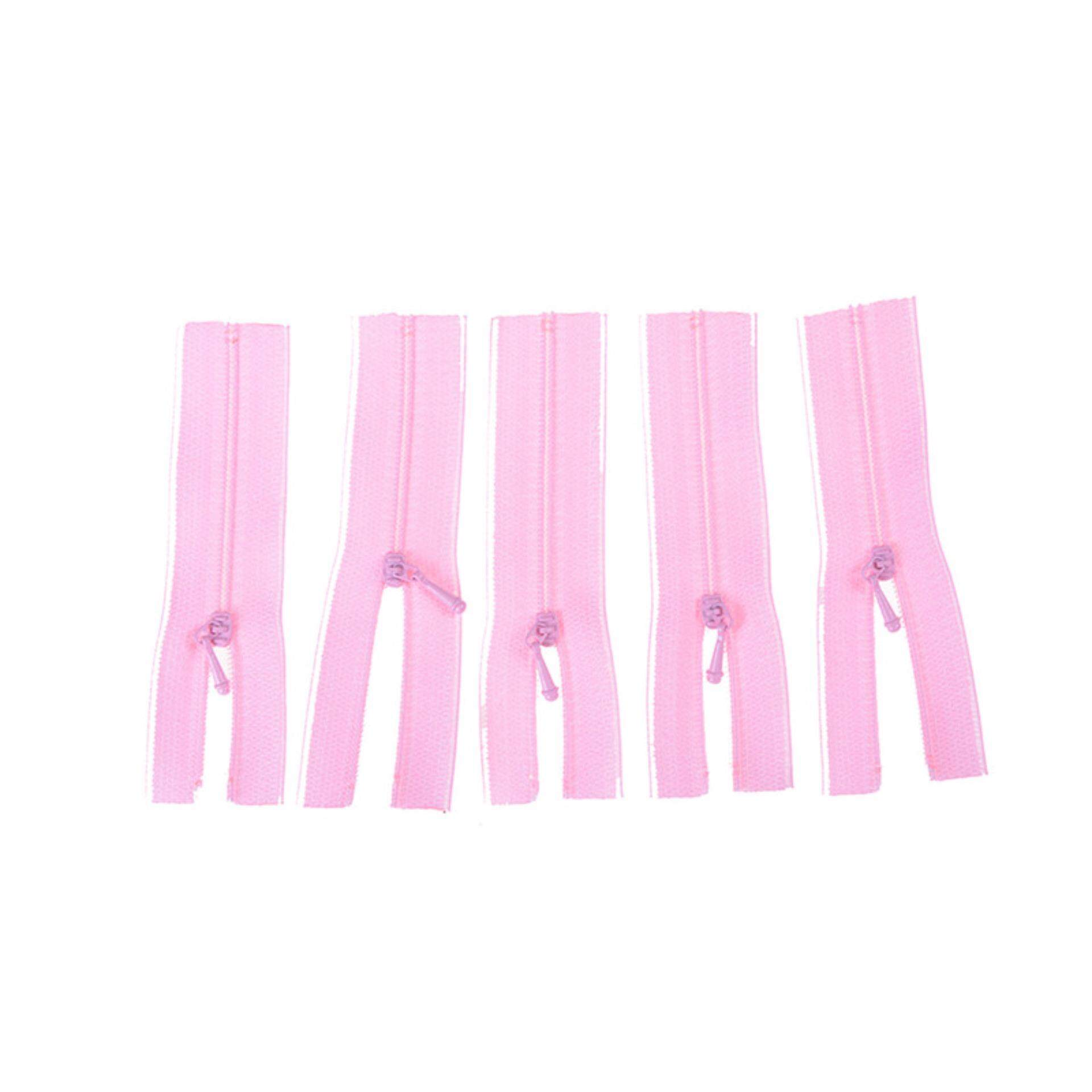 5pcs/Set Mini Zipper For Doll Dress Bags Diy Craft Sewing Accessories Tools Gift Pink