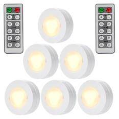 Hiqueen 6 Packed LED Puck Lights Remote Controlled Closet Lights Super Bright Under Cabinet Lighting Round Shape Battery Powered Dimmable Light