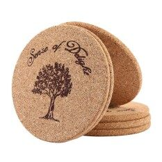 6pcs/set Round Natural Cork Coasters 5mmthick, Absorbent, Eco-Friendly, Heat-Resistant, Reusable By Treeone.