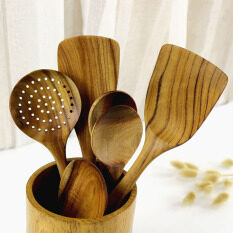 6 Pieces Teak Wood Spoon Spatula Mixing Set Utensil Kitchen Wooden Cooking Tool By Best Shoping.