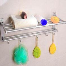 Get Cheap 60Cm Space Aluminum Double Towel Rack With 5 Hooks