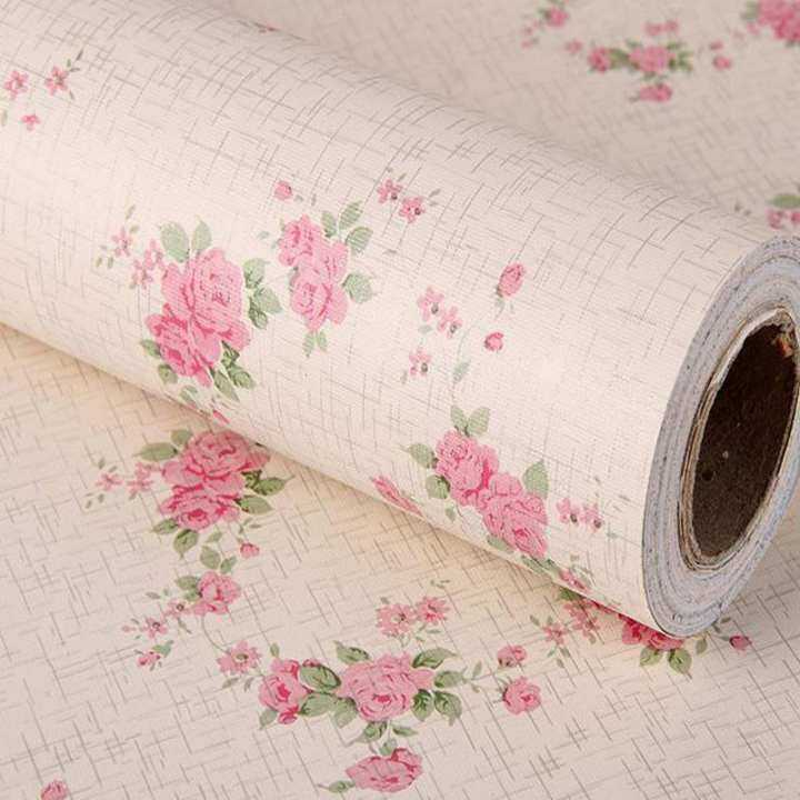 60cm*2.5m Vinyl Self-adhesive Wallpaper Rolls Floral Wall covering Waterproof Sticker (Small flower)