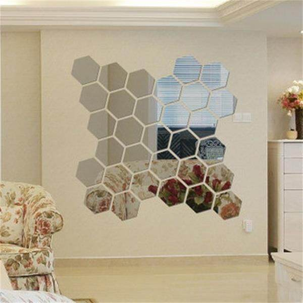 AirSky 60PC/Set Hexagonal Mirror Green Wall Sticker Wall Decorated Crystal Mirror Posted Solid Background