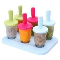 6PCS Colorful Freezer Pop Popsicle Frozen Mold Ice Cream Yogurt Juice Maker - Reusable, BPA Free, DIY Specification:Circular mixed jelly