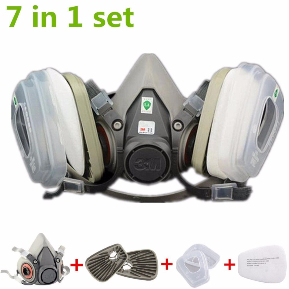 7 in 1 Suit Painting Spraying Half Face Facepiece Dust Mask RespiratorFor6200 N95