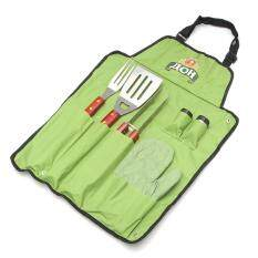 7-Piece Outdoor BBQ Barbecue Set Apron & Utensil Set Roll Up Portable Bag Tools
