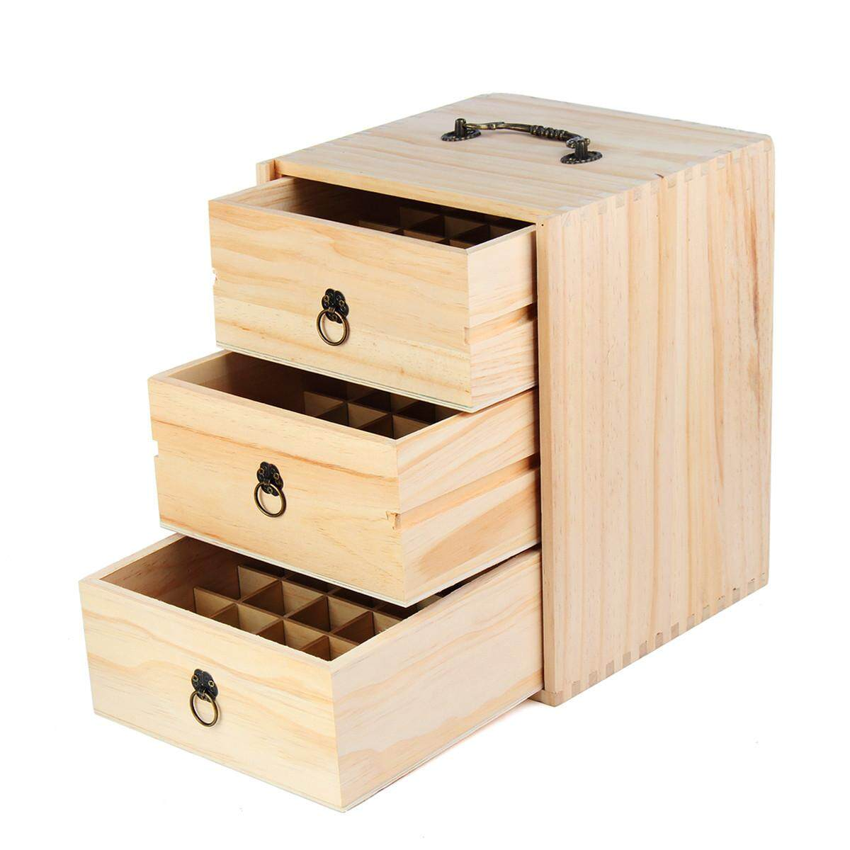 75 Slot 3 Tiers Essential Oil Wooden Box Multi Tray Carry Organizer Storage Case - intl