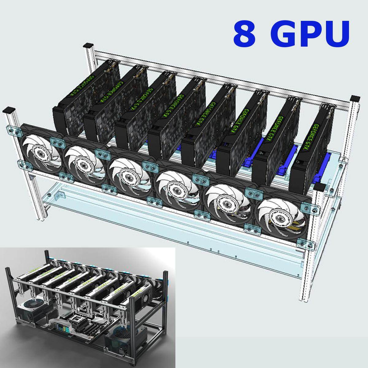 8-GPU Crypto Coin Aluminum Stackable Open Air Frame Mining Miner Rig Case NEW - intl