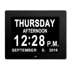 8 Inch Dementia Calendar Clock Digital Large LED Display Memory Loss Desk Shelf Clocks Silent Wall Clock for Home Office or Seniors Memory Loss Dementia Alzheimer