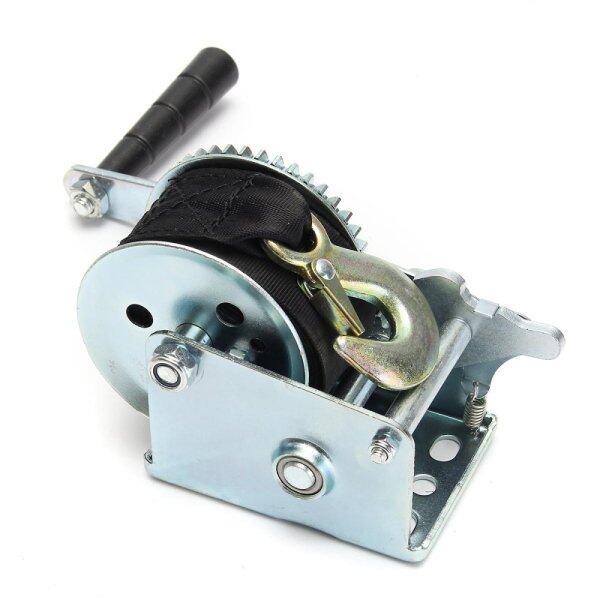 800lbs Heavy Duty Manual Hand Crank Strap Gear Winch For Car Truck Boat Trailer