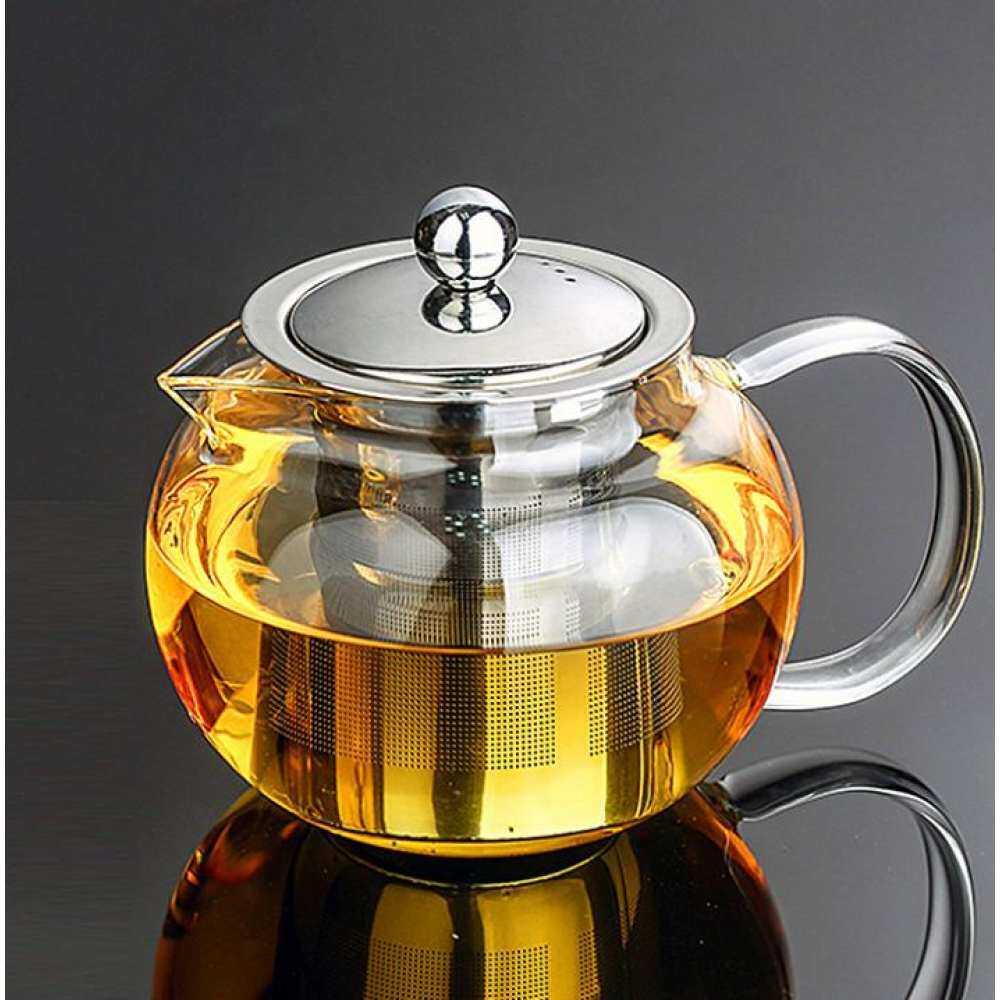 800 ml Tahan Panas Teko Kaca Infuser & Tutup Pot Teh Herbal Stainless steel