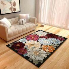 80*120cm Living Room Rectangle Floor Mat Carpet Non Slip Sofa Rugs Tea Table Mats 3D Floral Printed Bedroom Soft Bedside Footcloth